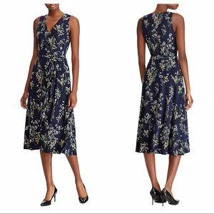 LAUREN RALPH LAUREN Carana Floral Wrap Dress Navy